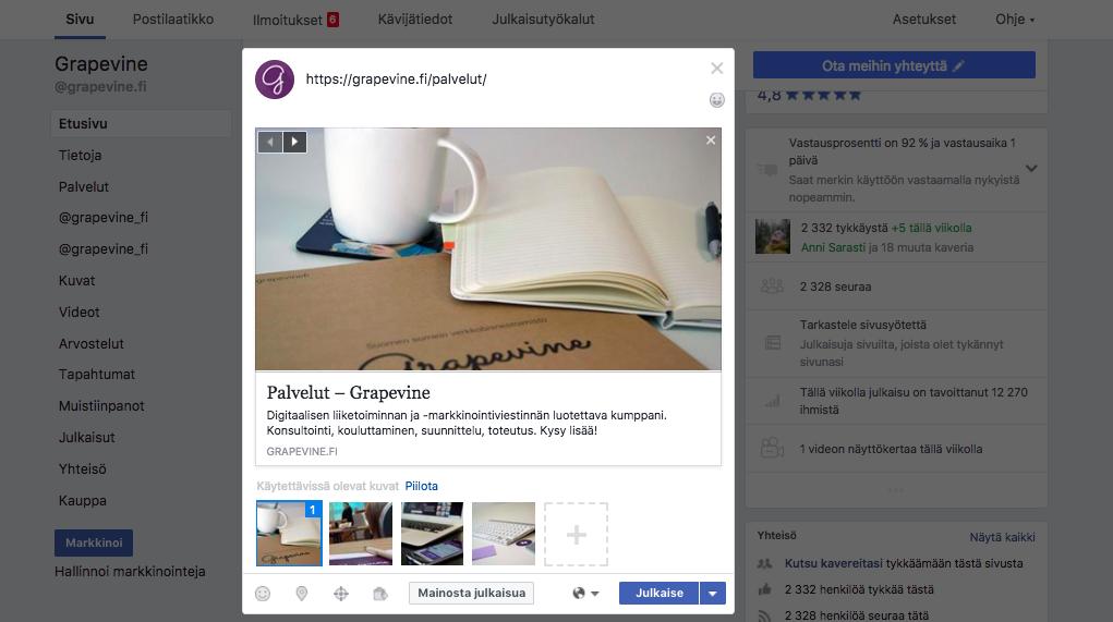 Nain muokkaat Facebook-paivituksen kuvaa ja linkkia - esimerkki - Grapevine