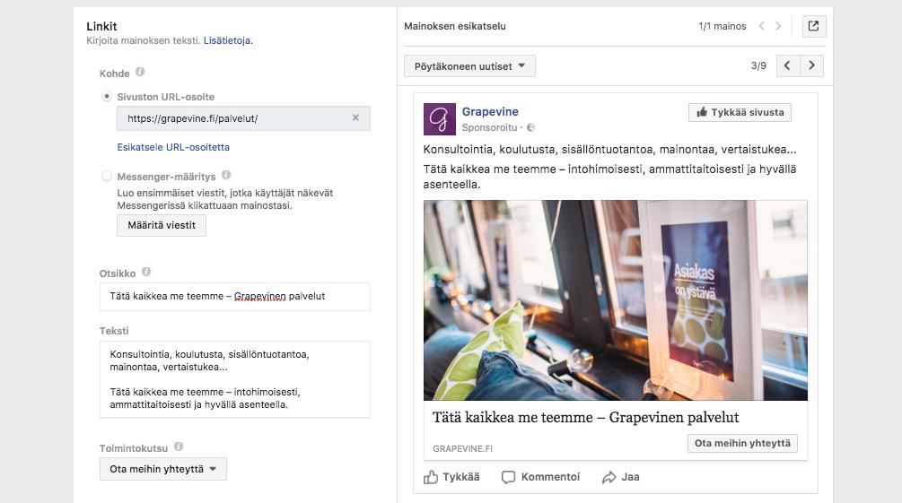 Nain muokkaat Facebook-postauksen kuvaa ja linkkia - Mainoksen tekeminen - Grapevine