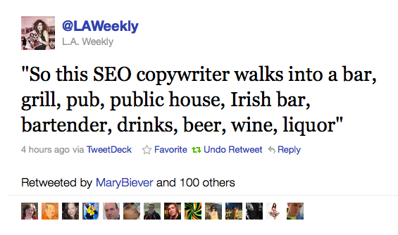 SEO copywriter vitsi; So this SEO copywriter walks into a bar, grill, pub, irish bar, bartender, drinks, beer, wine, liquor