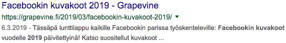 Hyvän SEO-otsikon esimerkki Facebook kuvakoot 2019 – Grapevine